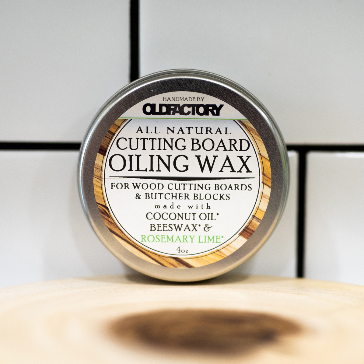 Rosemary Lime Natural Cutting Board Wax Tin 4 Oz Natural Cutting